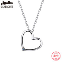 Silvercute Tiny Heart Necklace Colorful Rainbow Mystic Topaz Fine Jewelry For Women 100% Real 925 Silver Accessories Gift SCP022