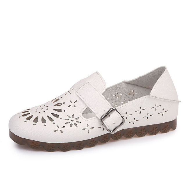 ef1b85029e8 2018 Spring Women Flat Platform Loafer Shoes Ladies PU Leather Hollow Out  Casual Shoes Slip on Flats Moccasins Creepers VOGELLIA