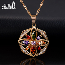 Effie Queen Beautiful Flower Design Women Necklace Gold-color Zircon Fashion Big Necklaces & Pendants DDN03
