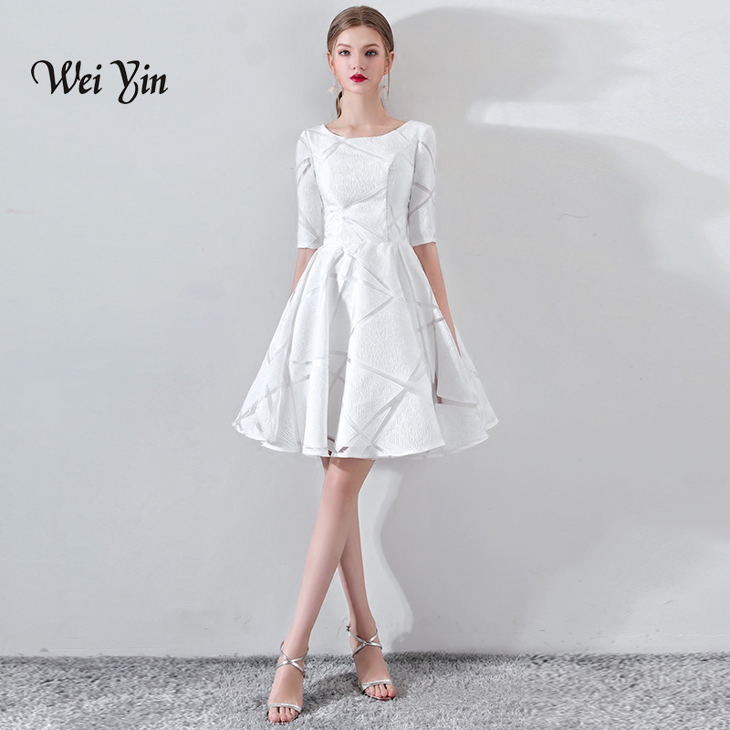weiyin New Short   Cocktail     Dress   Champange O-neck Lace Flower Banquet Elegant Formal Party Gowns Robe De Soiree WY886