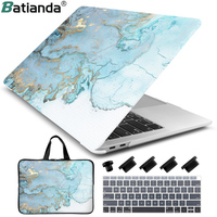 4 in 1 Set Marble Laptop Bag/Case Cover For Macbook Air 11 Retina Pro 13 15 with/out Touch Bar A1706 A1707 A1990 AIR 2018 A1932