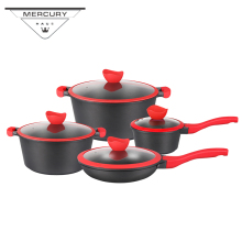 12pcs Non-stick Cast Aluminum Kitchen Cooking Casserole Frypan Pot Cookware Sets Utensi Kitchenware with Marble Coating