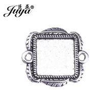 10pcs/lot 12mm Lace Square Connector Cabochons Blank Pendant Tray Carved Leaves Metal Cabochon Setting DIY Jewelry Making AD0193 mibrow 10pcs lot stainless steel 8 10 12 14 16 18 20mm blank french lever earring tray cabochon setting cameo base jewelry
