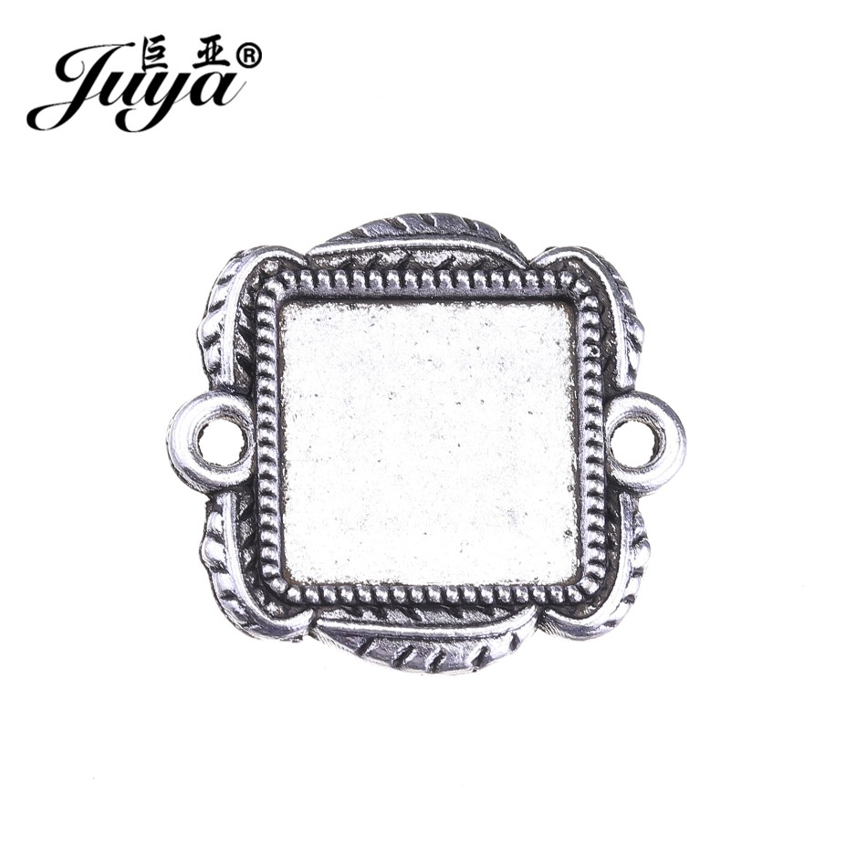 JUYA Purfle Square Connector Cabochons Blank Pendant Tray for Handmade 12mm Carved Leaves Cheap Metal Cabochon Setting AD0193