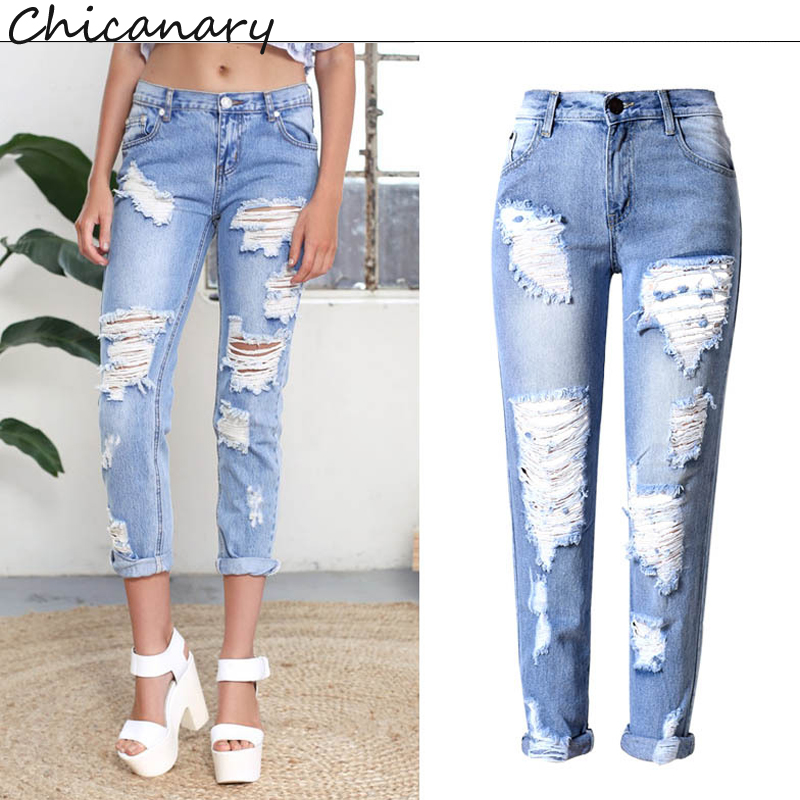 Chicanary 2017 New Ripped Frayed Mid Rise Denim Jeans Skinny Pants Women Europe Fashion Casual Jeggings