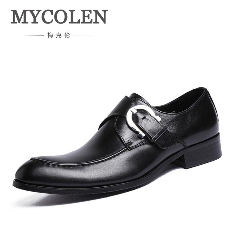 MYCOLEN New Genuine Leather Men Dress Shoes High Quality Oxford Shoes For Men Lace-Up Business Wedding Men Shoes Ayakkabi цена