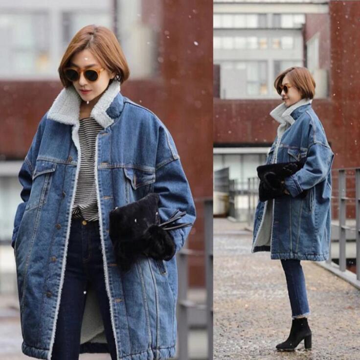 Women Denim Jacket Plus Velvet 2016 Autumn Winter Coat Plus Size Female Jean Jacket Washed Fashion