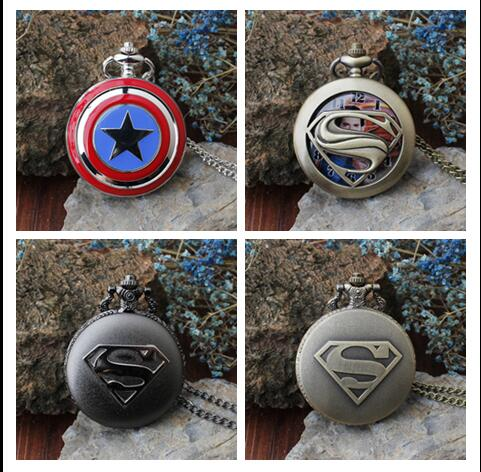 Captain America Bronze Black Woman Men Steampunk Necklace Pocket Watches Gift KJH53