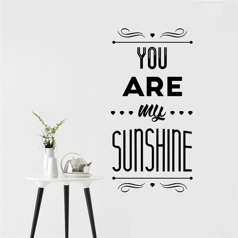 Lovely fashion quote you are my sunshine happy family home decor lovely fashion quote you are my sunshine happy family home decor wall sticker wedding bedroom decoration wallposter for lover in wall stickers from home junglespirit Images
