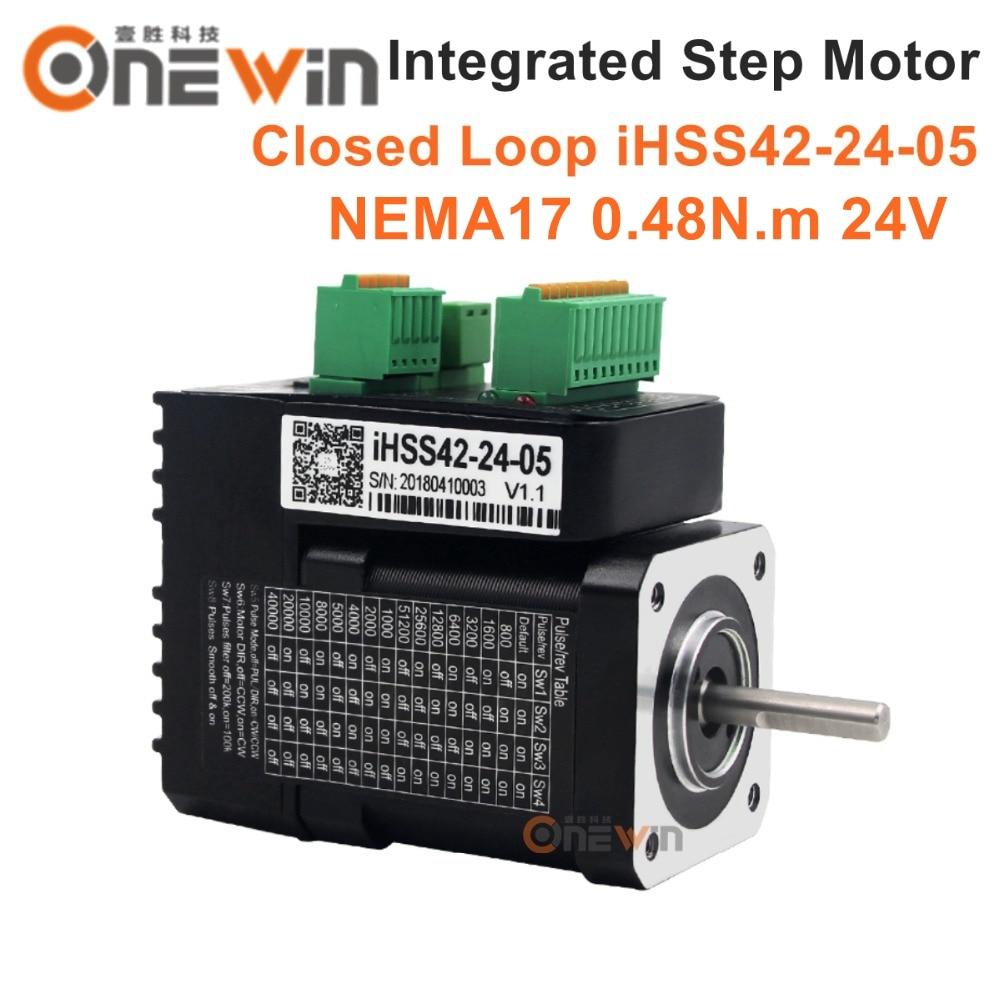 JMC NEMA17 Integrated Closed Loop Stepper Motor 24V 1.2A 0.48Nm 142oz.in 2 phase iHSS42-24-05 nema23 2nm 283oz in integrated closed loop stepper motor with driver 36vdc jmc ihss57 36 20