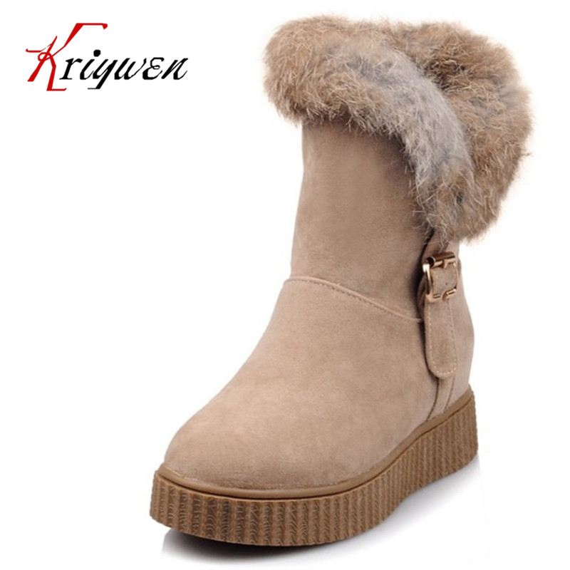 ФОТО Winter warm rabbit hair sweet girl'snow boots slip on Women wedges high heeled Ankle Boots artificial leather dress warm shoes