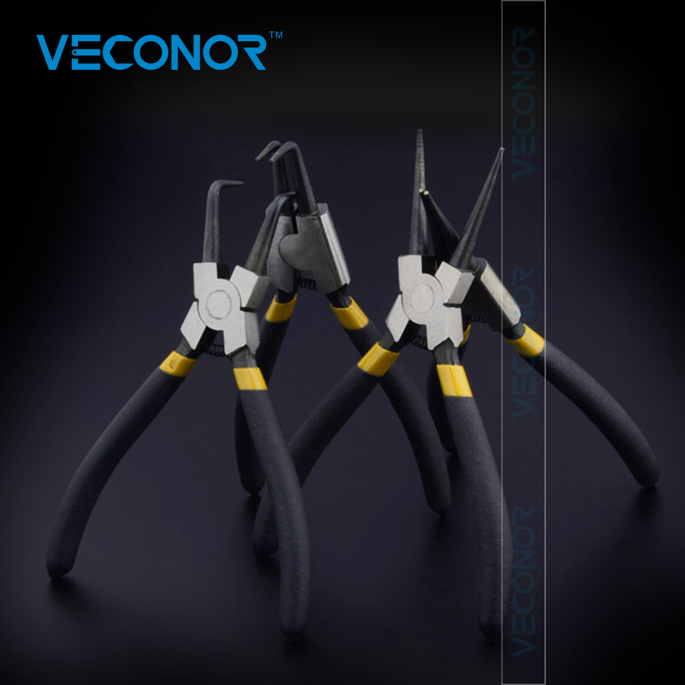 Veconor set of 4pcs 6 inch circlip pliers internal external curved straight tip circlip plier snap ring plier mechanical tools huafeng giant arrow in the external shaft mounted demolition tongs retainer with a ring with pliers hole pliers straight mouth c