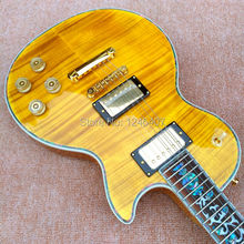 2017 new custom store earth bedside light yellow tiger burst electric guitar stock / Gift