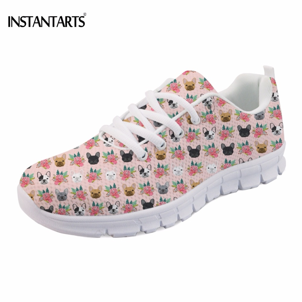 INSTANTARTS Funny French Bulldog Printing Girls Flats Shoes Casual Breathable Women Lace-up Sneakers Fashion Women's Spring Flat instantarts cute glasses cat kitty print women flats shoes fashion comfortable mesh shoes casual spring sneakers for teens girls