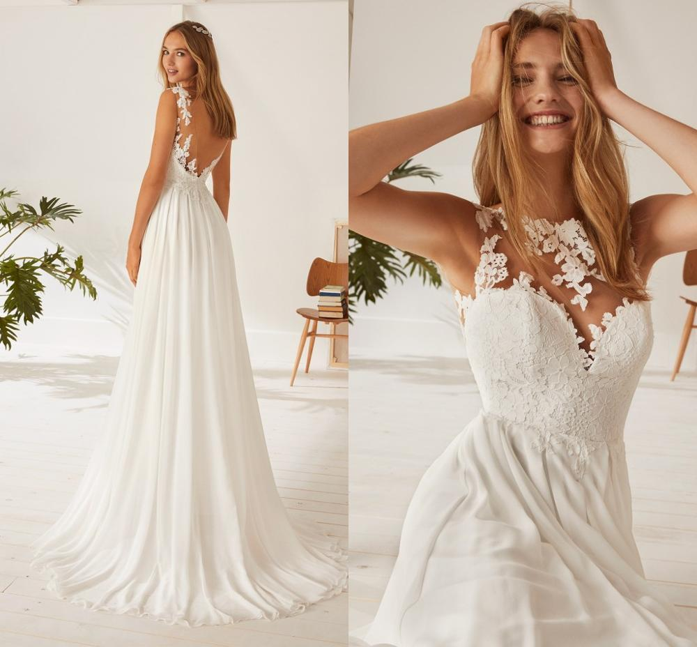 Chiffon A Line Illusion Neck Cheap Wedding Dress Backless Sexy