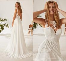 Chiffon A Line Illusion Neck Cheap Wedding Dress Backless Sexy Lace Top Bridal Gown Boho Beach Bride New Fashion