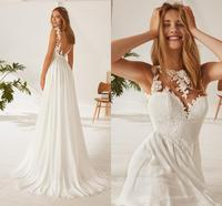 Chiffon A Line Illusion Neck Cheap Wedding Dress Backless Sexy Lace Top Bridal Gown Boho Beach Bride Dress New Fashion