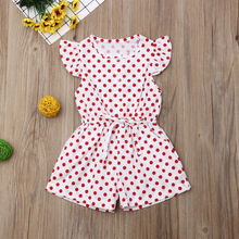 Kids Girls Dot Print Short Sleeve Jumpsuit Outfits