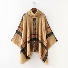 woman sweater office lady elegant plaid Europe and American style female fashion clock button up collar knit sweater button up zigzag pattern cable knit sweater