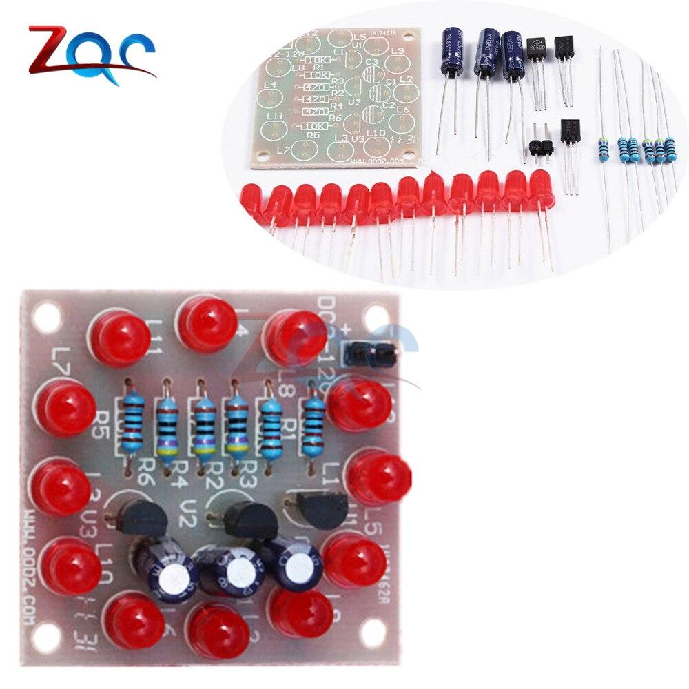 Circular Lamp Suite 12PCS LED Red DIY Kit Perfect Electronic Flash LED Electronics DIY