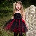 Halloween Little Witch Tutu Dress Girls Cosplay Costume Handmade Fluffy Children Pageant Wear Short Dress TS088