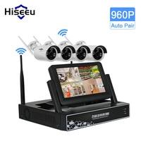 7 Inch Displayer 4CH 960P Wireless CCTV System Wireless NVR IP Camera IR CUT Bullet Home