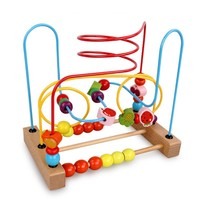 Baby Kids Counting Fruit Bead Wire Maze Roller Coaster Wooden Early Educational Kids Toy