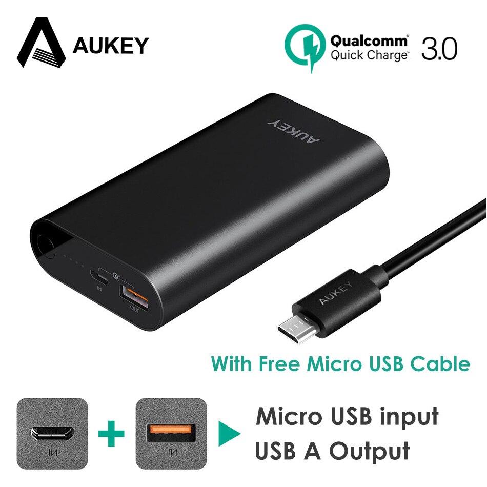 imágenes para AUKEY Carga Rápida 3.0 Banco de la Energía 10050 mAh de La Batería de Dos Vías de Carga Rápida Xiaomi Powerbank Cargador Portátil para Galaxy S8 Meizu