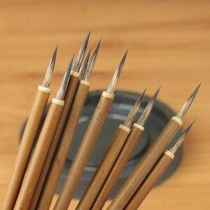 6 шт./упак. Китайская каллиграфия, Бамбуковая ручка для рисования, кисть для письма, Набор принадлежностей для рисования, акварельные кисти, ...