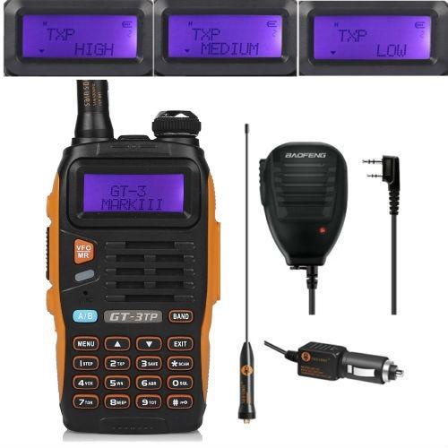 "Baofeng GT-3TP MarkIII 1/4 / 8Watt צריכת חשמל גבוהה 136-174 / 400-520MHz חם רדיו דו-כיווני מכשיר הקשר מקמ""ש מיקרופון"