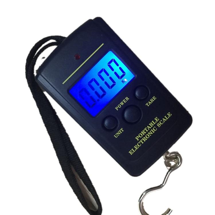 Blue Backlight Electronic Digital Scales 40kg 10g Shop Hanging Hook Pocket Scale Fish Luggage Weight Balance Steelyard Black