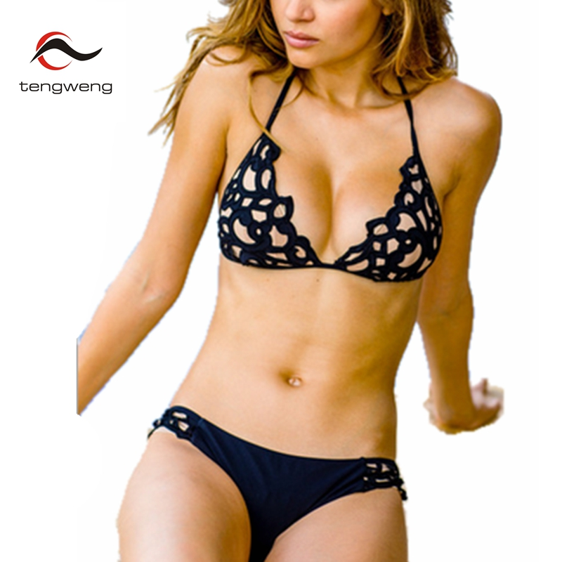 Tengweng 2018 New Black Push Up Straps Bikini Set Halter 2 Pieces Swimsuit Nude Lace Hollow Out Swimwear Plus size Bathing suit lace up halter padded plus size bathing suit