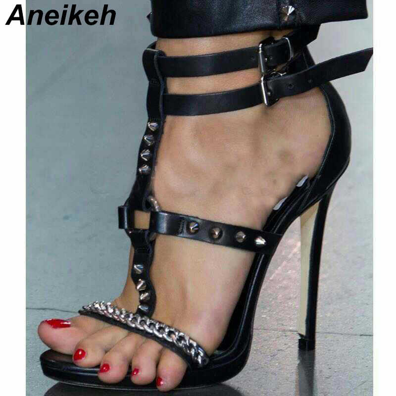 Aneikeh High Heel Gladiator Sandals Buckle Sandal Chain Metal Rivet Ankle  Strap 2019 New Wedding Party 4ac3eedcb2cc