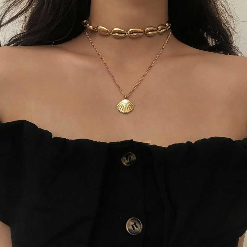Boho Гавайские коври золотые морские раковины ювелирные изделия богемные пляж кисточкой ожерелье оболочки золотая цепочка для женщин чокер