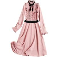 Girl Ruffles Chiffon Dress Bow Lace up Mid Dress Sweet Retro Robe Femme Vestido Mujer Vestiti Donna