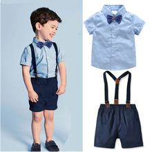 Cotton Baby Kids Clothes Set Toddler Boys Summer Gentleman Bow Tie Short Sleeve Shirt+Strap Shorts Sets Party
