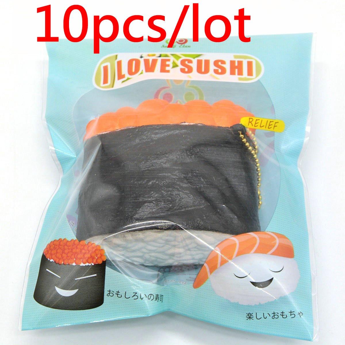 imágenes para 10 Unids/lote 2017New Squeeze Kawaii Blando Caviar Delicioso Sushi de Pescado Lento Aumento Bollo Kid Juguete de Regalo Original Al Por Mayor de Envases