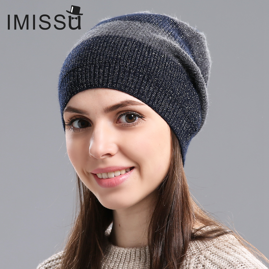 IMISSU Autumn&Winter Women's Hats Knitted Real Wool Skullies Design Fashionable Casual Cap Gorros Casquette Hat For Girls