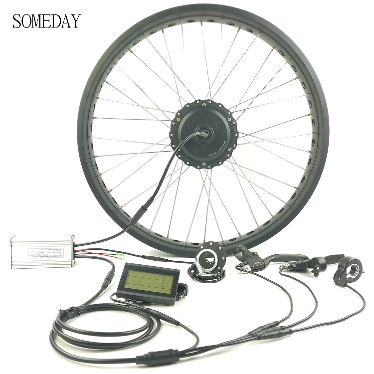 SOMEDAY EBIKE rear cassette whole waterproof cable gear hub motor 36V/48V500W electric bicycle snow bike with LCD3 display Conversion Kit     - title=