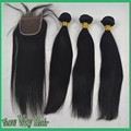 7A Virgin Malaysian Straight Human Hair Bundles With Lace closure Unprocessed Human Hair 4x4 Lace Closure With Hair Extensions