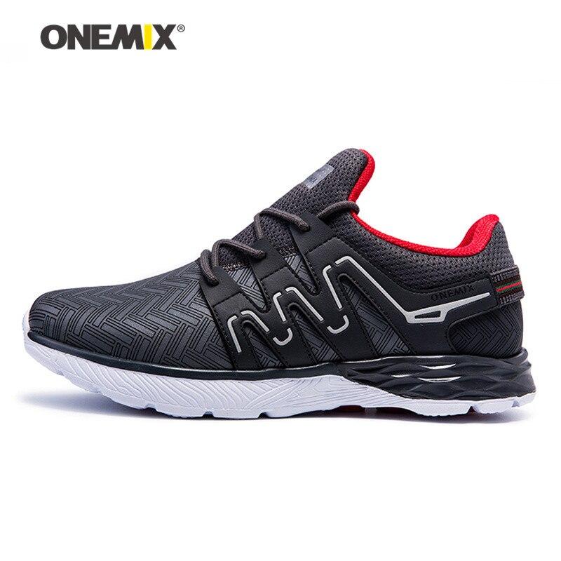Zapatos corrientes de los hombres de cuero reflectante onemix athletic zapatos a