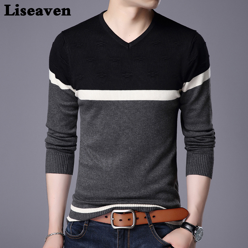 Liseaven Hommes Pull Chandail V Neck Casual Slim Fit Chandails À Manches Longues Pull Tops