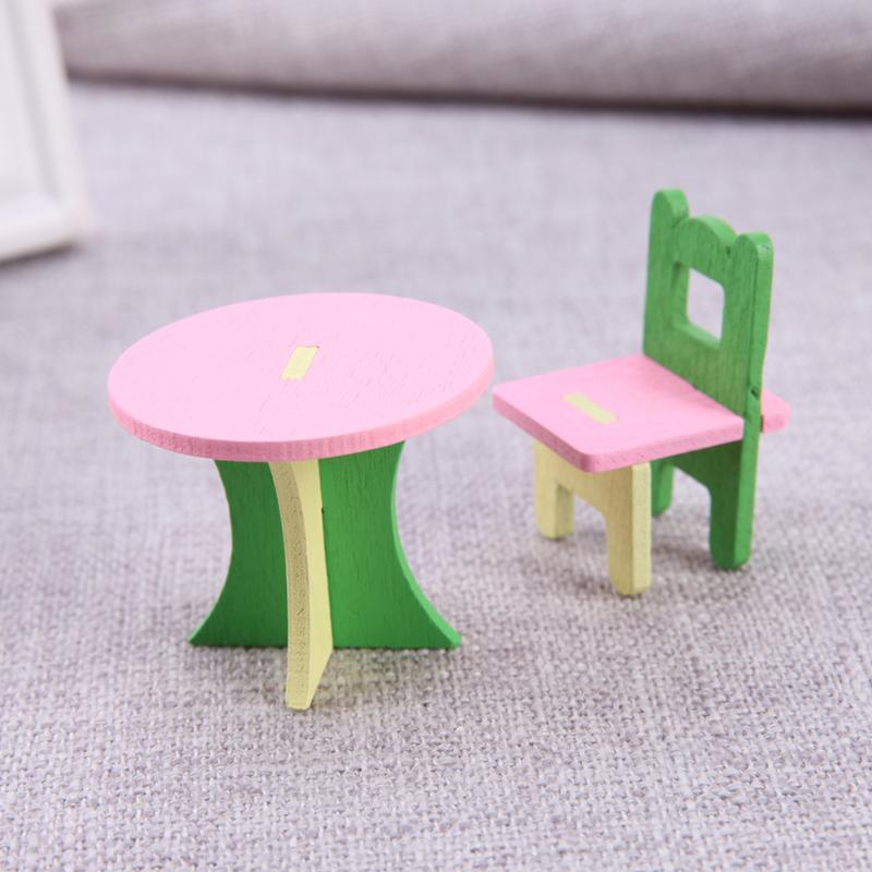 1 set/5pcs Baby Wooden Dollhouse Furniture Dolls House Miniature Child Play Toys Gifts