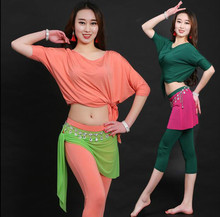 Sexy Women Soft Belly Dance Costume Oriental Dancing Training Clothing Top+pants Suit for Womens Girls belly dance wear DW008