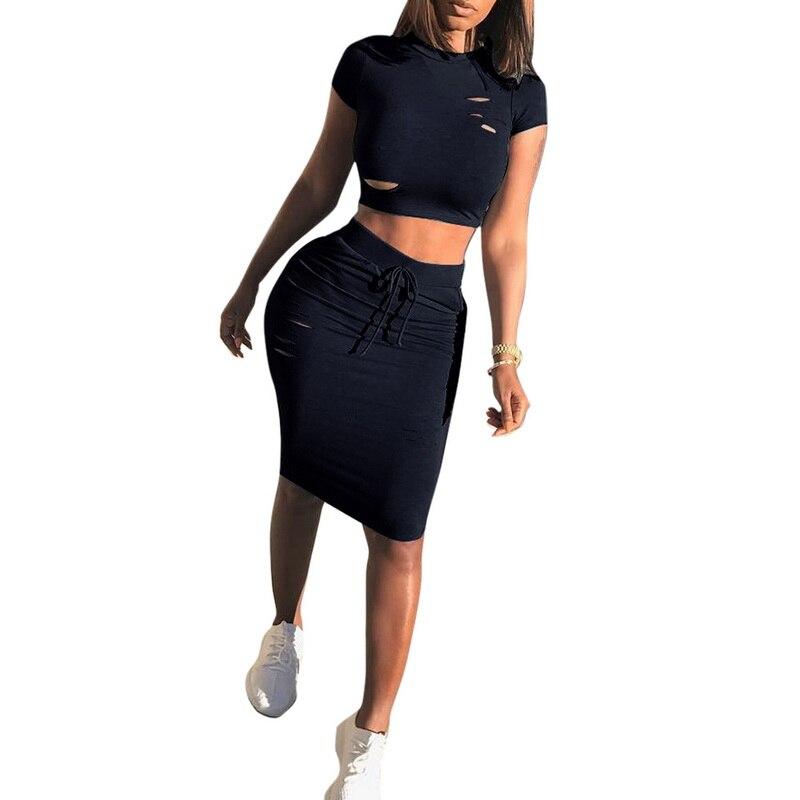 CALOFE Women Summer Dress 2018 Two Piece Party Club Dresess Hole Short Sleeve O Neck Midi Sexy Bodycon Dress Vestidos Streetwear