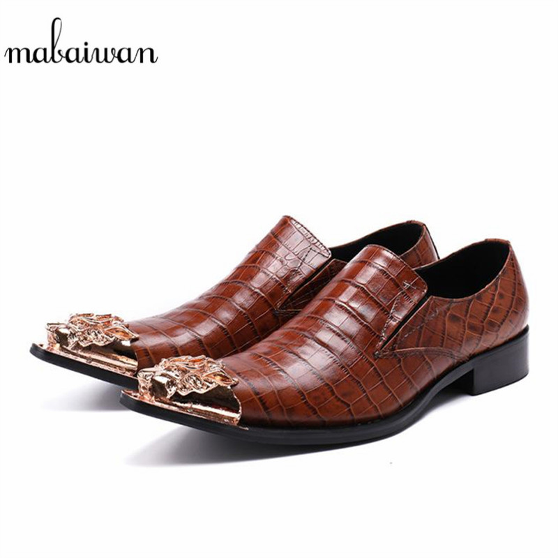 Mabaiwan New Fashion Brown Casual Shoes Leather Loafers Metal Pointed Toe Slipper Dress Shoes Men Slip On Handmade Party Flats mabaiwan italy casual men shoes snakeskin leather loafers fashion slipper wedding dress shoes men slip on handmade party flats
