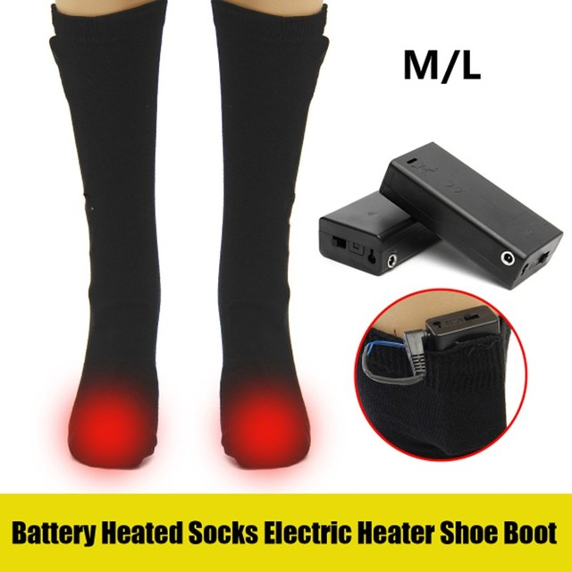 3V 50 Degree Electric Heated Socks Men Women Thermal Heating Long Cotton Sock For Cold Feet Winter Warm Foot Leg Mid-calf Socks