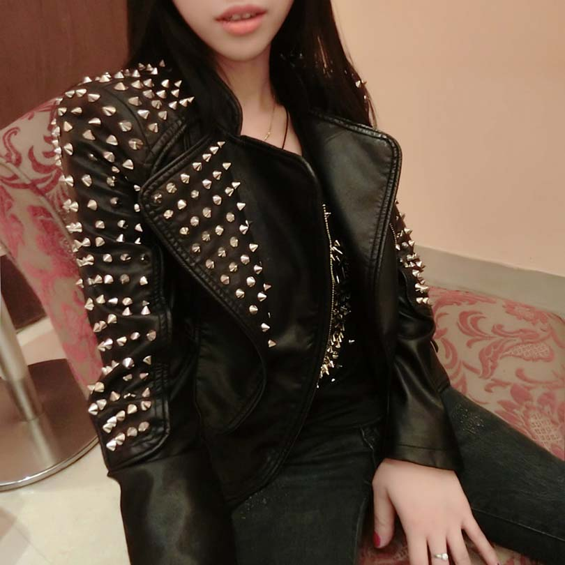 Women Slim Bi-metal Rivet Locomotive steampunk Epaulet Motorcycle Spiked   Leather   Jacket Faux   Leather   Jacket Black PU Jacket CO23