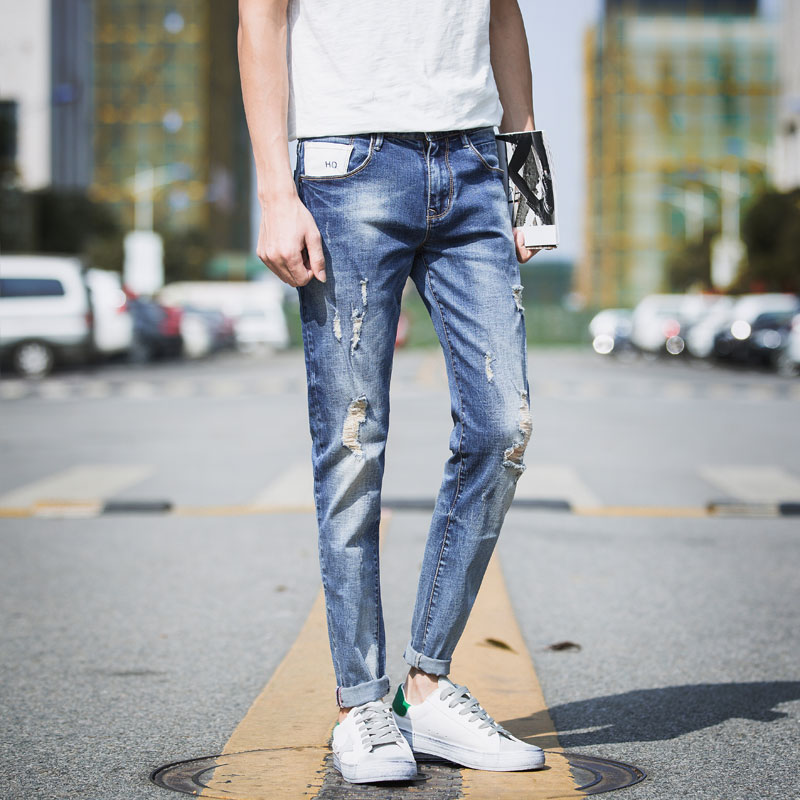 2017 New Men's Stretch Soft Distressed Destroyed Ripped Jeans Slim Fit Tapered Leg Denim Pants Beggar jeans with Broken Holes inc international concepts new navy elastic waist tapered leg soft pants 10 $69