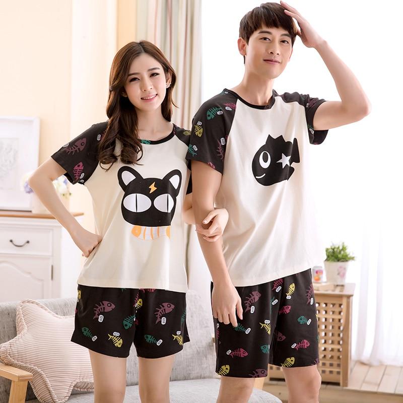 New Summer Lovers Pajamas Cartoon Cat And Fish Cute Girls Pijama High Quality Sleepwear Men Plus Size XXXL Pyjamas Women